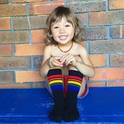 "Pride Socks 10"" Baby/toddler Rainbow Striped Tubes - Black by Pride Socks"
