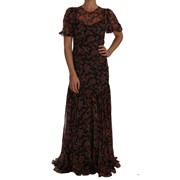 Dolce & Gabbana Black Floral Roses A-Line Shift Gown 4663625220140
