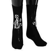 Dolce & Gabbana Black Knitted Floral Clear Crystal Socks 4664692703276