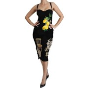 Dolce & Gabbana Black Lace Crystal Bodycon Midi Dress 6281134637205