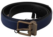 Dolce & Gabbana Blue Gold Brushed Buckle Leather Belt 6358374252693