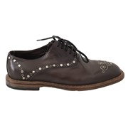 Dolce & Gabbana Brown Leather Marsala Derby Studded Shoes 4994469232684