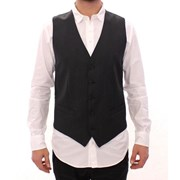Dolce & Gabbana Gray Striped Wool Single Breasted Vest 4613341610028