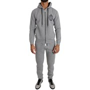Billionaire Italian Couture Hooded neck full zip Sports Sweater and Pants - Gray Tracksuit 4540494577708