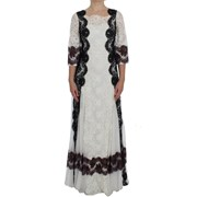 Dolce & Gabbana White Floral Lace Full Length Gown Dress 4668874981420