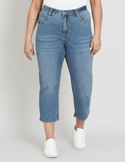 Beme High Rise Straight Cut Off Jean MID WASH