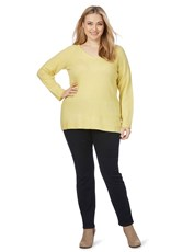 Beme Long Sleeve V Neck Jumper citrus
