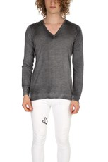Avant Toi Cashmere Destroyed V Neck Grey