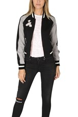 Elizabeth and James Willa Embroidered Reversible Bomber Black/Pale Dove