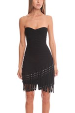 Herve Leger Belina Knit Cocktail Dress Black