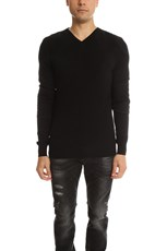 Pierre Balmain Quilted V Neck Sweater Black