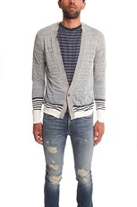 Remi Relief Boarder Cardigan Heather Gray/Blue