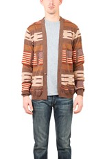 Remi Relief Wool Native Boarder Cardigan Brown