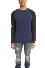 Vince Cotton Cashmere Colorblock Sweater Dusk Blue/ Black