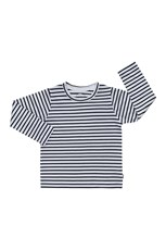 Bonds Kids Long Sleeve Aussie Cotton Crew Tee Nu Standard Stripe Nu White & Washed Carbon