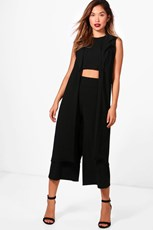 Boohoo 3 Piece Crop Culotte & Duster Co-Ord Set DZZ40102