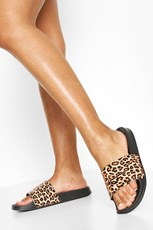Boohoo Leopard Print Woman Sliders FZZ65591
