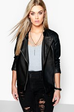 Boohoo Plus Quilted Faux Leather Biker Jacket PZZ95988