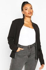 Boohoo Plus Quilted Sweat Zip Through Bomber PZZ65835