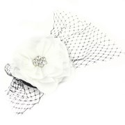 Catwalk Hair Accessories Black & White Flower Fascinator