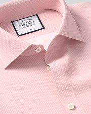 Charles Tywrhitt Business Casual Collar Non-Iron Geometric Print Cotton Shirt - Pink Single Cuff