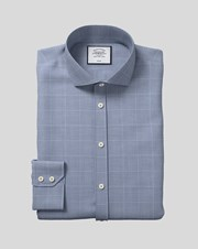 Charles Tywrhitt Cutaway Collar Non-Iron Cotton With Tencel X Refibra Check Tencel Mix Business Shirt - Navy Single Cuff