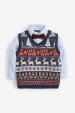Next Christmas Fairisle Knitted Tank, Shirt And Bow Tie Set (3mths-7yrs) 263759