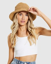 Subtitled North Straw Bucket Hat Natural