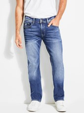 Guess Mid-Rise Regular Straight Denim Jeans In Delta Wash