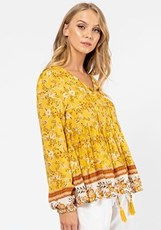 Label Of Love Roma Boho Top YELLOW PRINT