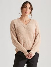 Katies Long Sleeve V Neck Hairy Knit Jumper CAMEL