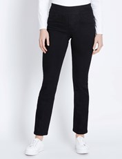 Katies Regular Straight Leg Ultimate Full Length Denim Jeans BLACK