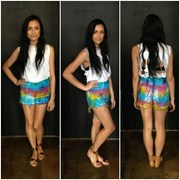 One Teaspoon SORBET TIE DYE ROMEOS DENIM SHORTS