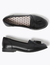 Marks & Spencer Kids' Leather Freshfeet Loafers (13 Small - 7 Large) BLACK