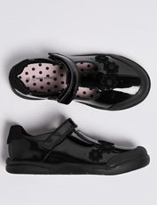 Marks & Spencer Kids' Leather T-Bar School Shoes (8 Small - 1 Large) BLACK