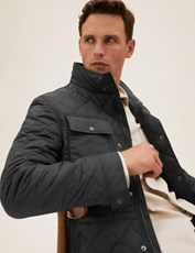 Marks And Spencer Quilted Jacket with Stormwear BLACK