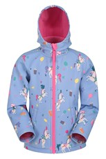 Mountain Warehouse Exodus Kids Printed Water Resistant Softshell Light Purple