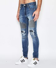 Nena & Pasadena Combination Biker Jeans Milwaukee Blue