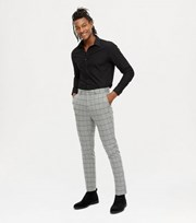 New Look Pale Grey Grid Check Skinny Crop Trousers