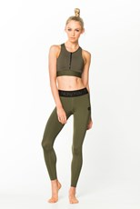 Nicky Kay Fit Glam Compression Tights Khaki w/ Black Waistband