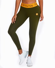 Nicky Kay FitGlam Compression Tights - Khaki with Orange Waistband