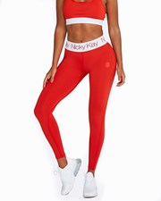 Nicky Kay FitGlam Compression Tights: Red with White Waistband