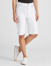 NONI B PINKTUCK FLY FRONT SHORTS WHITE