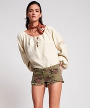 One Teaspoon KHAKI HIBISCUS DUKES LOW WAIST MINI DENIM SHORT 23511