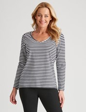 Rivers Basic Long Sleeve Tee Navy/White Stripe