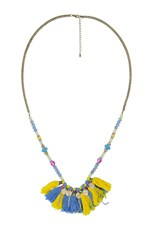Rockmans Amber Rose Fringed Rope Necklace multi
