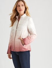 Rockmans Longsleeve Ombre Puffer Jacket PINK OMBRE