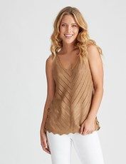 Rockmans Sleeveless Knit Cheveron Tank TAN