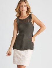 Rockmans Sleeveless Ruffle Knit Tank ROSEMARY