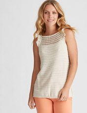 Rockmans Sleeveless Ruffle Knit Tank SAND